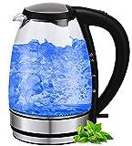 Glas Edelstahl Wasserkocher | BPA-Frei | Edelstahlwasserkocher | Glaswasserkocher | Elektrischer Wasserkocher | 2.200 Watt | 1,7 Liter | Blaue LED Beleuchtung |