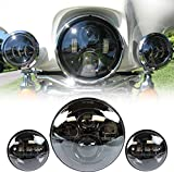 LWD 7 Zoll Harley Daymaker LED runde Scheinwerfer mit passenden schwarzen 4,5 Zoll Passleuchten Nebelscheinwerfer für Harley Davidson Motorräder mit Drahtadapter