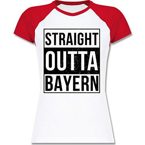 Bayern Frauen - Straight Outta Bayern Schwarz - L195 Damen Baseball Shirt Weiß/Rot