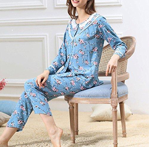 2017 Mme Pyjama En Coton Printemps Et D'été Pantalons à Manches Longues Costume blue