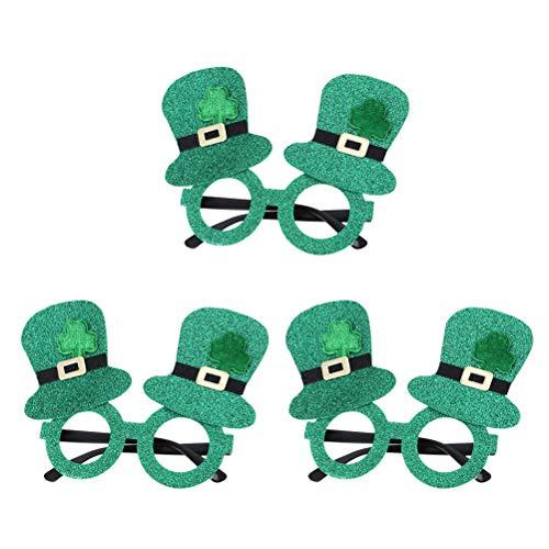 BESTOYARD 3 Stücke St. Patrick's Day Irish Kleeblatt Brille Spaßbrille Partybrille für Kinder Erwachsene Party - St Patrick Kostüm Kinder