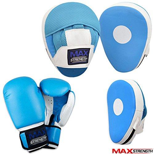 MAXSTRENGTH Fokus Pads und Handschuhe Set Boxen MMA Boxsack Training Haken & Jab Pad Gebogen Blau/Weiß, LUE/White, 396,9 g (14 oz)