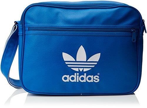 Adidas AJ8203 - Borsa a tracolla Airliner, colore: nero/bianco, 10 x 38 x 28 cm, 10 litri Blu - Bluebird/bianco