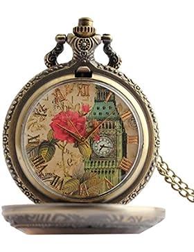 lekima Taschenuhr Taschenuhr Halskette Anhänger Elegant London Big Ben rosa Zahl Römer Quartz Damen Legierung...