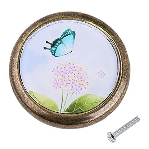 MagiDeal Antique Brass Cabinet Drawer Round Pulls Cupboard Bin Knob Handle Dandelion and Butterfly Pattern
