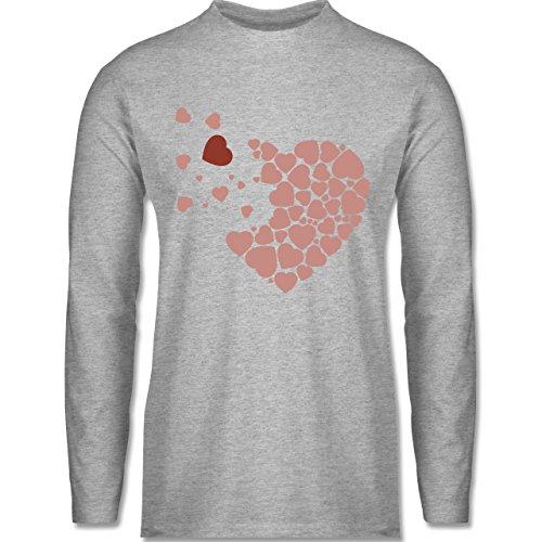Romantisch - Herz Herzchen - Longsleeve / langärmeliges T-Shirt für Herren Grau Meliert
