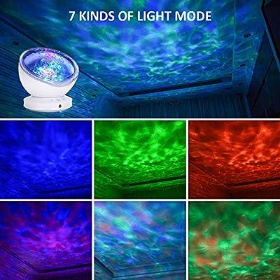 Nachtlicht Kind, Cocoda Stimmungslicht Ozeanwelle Projektor Lampe 7 Beleuchtungsmodi mit Eingebaut Musikspieler, 12 LED Nachtlampe für Baby Kinder Erwachsene Party Schlafzimmer Wohnzimmer