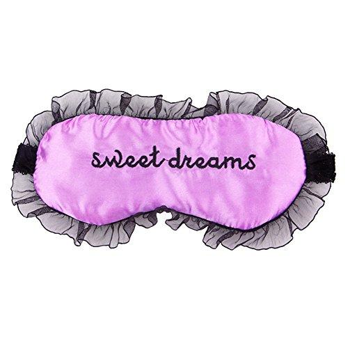 Andy's share Komfortable Seidensatin Wort Ballettröckchen Schlafmaske Augenabdeckung Personalisierte Spitzeschablone (lila)