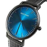 Geekthink Carbon Armbanduhr Business Modern Luxus Premium Blau Schwarz Matt inkl Geschenkbox für Herren