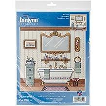 Janlynn Kit de punto de cruz de baño algodón Victorian 25,4 cm x 25,4 cm 14 de ropa de cama