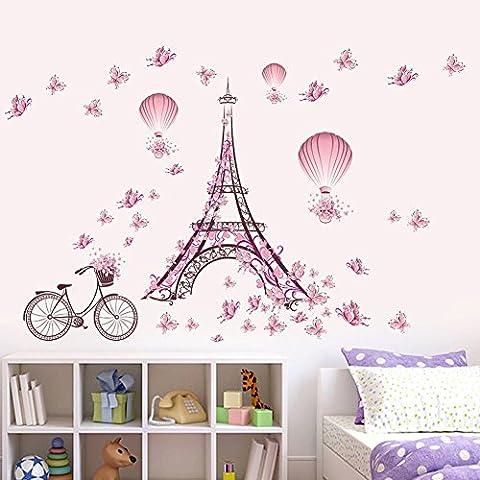 Wallpark Romantique Rose Papillon Paris Tour Eiffel Fleur Montgolfière Amovible Stickers Muraux Autocollants, Enfants Bébé Chambre Pépinière DIY Décoratif Adhésif Stickers