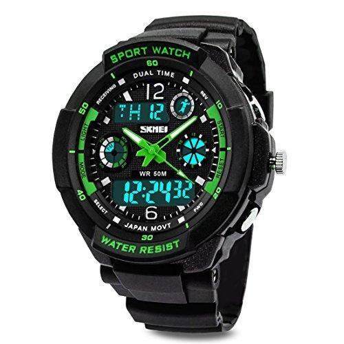 g shock kinder TOPCABIN Jungen Uhren Mädchen Uhren Kinder Armbanduhr Jungen Digital Analog Wasserdicht Sports Uhren für Jungen und Mädchen Digital Uhr Sports Uhren Grün