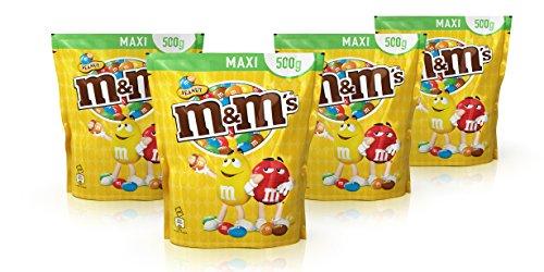 M&M'S Peanut / Knackige Erdnüsse umhüllt von Schokolade und bunter Zuckerglasur / Gefüllte Schokolinsen mit Nuss zum Knabbern / 4 x 500g Beutel Test
