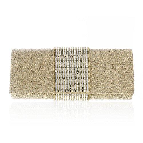 Damara® Adlige Damen Sequin Abend Handtaschen Mit Strass Gold