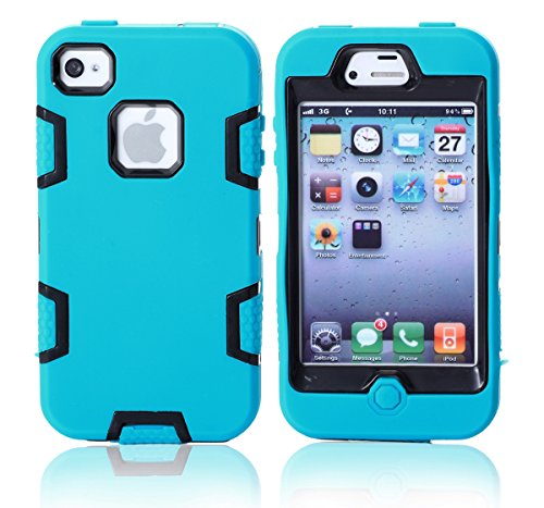 Casefirst iPhone 4 4s Case, Excellence Protects Case for iPhone 4 4s, Protects Protects Bumper Resistance to Shock for iPhone 4 4s (Blue + Black) (Carry Iphone 4s Für Case)