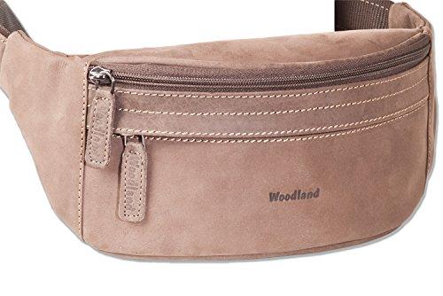 Woodland® - Große Bauchtasche mit viel Platz aus weichem, naturbelassenem Büffelleder in Dunkelbraun/Taupe, Dunkelbraun