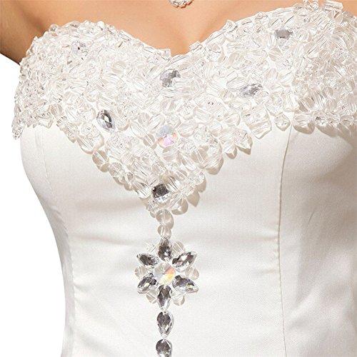 Robe de Mariage - LATH.PIN Robe de Mariee Blanc Robe Elegante de Soiree Ajustable Ceremonie Robe de Mariage Blanc