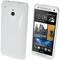 GADGET BOXX HTC ONE MINI M4 S-LINE Silikon-Gel in WEIß ABDECKUNG FALL und Bildschirmschutz