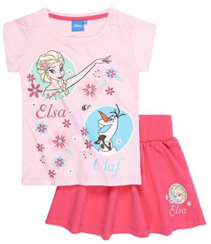 Disney Die Eiskönigin T-Shirt und Rock, T-Shirt mit shorts - pink - 128 - French Terry Short Set
