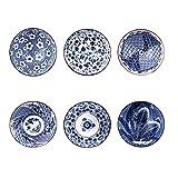Binoster Set di Ciotole di Cereali modellati, 6 individui Disegni Giapponesi Ciotole in Ceramica per Cereali/zuppa, Set di 6