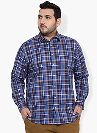 aLL Plus Size Men's Checkered Regular Fit Cotton Casual Shirt (1001232728001_Blue_1)