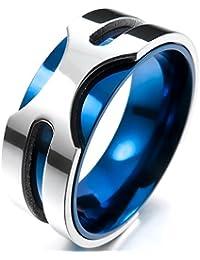 MunkiMix 8mm Acero Inoxidable Anillo Ring Banda Venda El Tono De Plata Azul Alianzas Boda Hombre