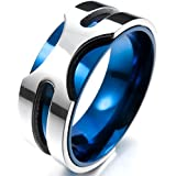 MunkiMix 8mm Acero Inoxidable Anillo Ring Banda Venda Plata Azul Alianzas Boda Encanto Atractivo Elegante Hombre