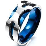 MunkiMix 8mm Acero Inoxidable Anillo Ring Banda Venda El Tono De Plata Azul Alianzas Boda Talla...