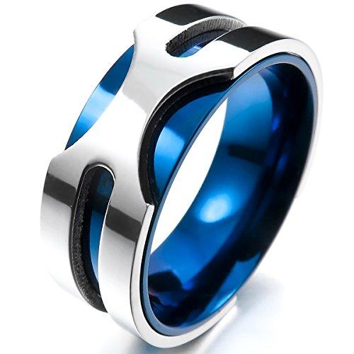 Munkimix 8mm acciaio inossidabile anello anelli banda tono argento blu matrimonio dimensioni 20 uomo