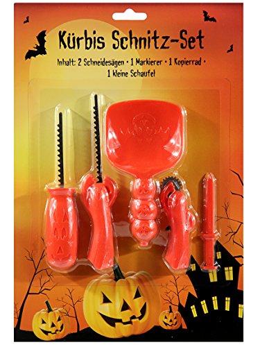Bada Bing 5tlg. Kürbis Schnitz Set Werkzeug Halloween Schneideset Pumpkin (1 Stück) 87