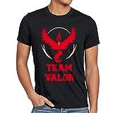 CottonCloud Team Rojo Valor Moltres Camiseta para hombre T-Shirt fuego, Talla:L;Color:Nero