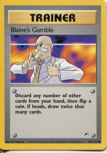 Pokemon Gym Heroes Common Card #121/132 Blaines Gamble