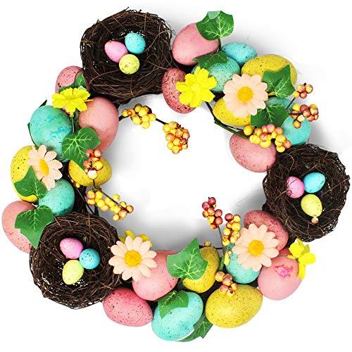 (THE TWIDDLERS Saisonale Deko Oster Tisch Tür Dekoration Osterkranz mit bunten Eiern - Perfekt zum Aufhängen oder Auslegen zu Ostern - Attraktive eierkranz Dekoration für drinnen oder draußen)