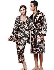 Para los hombres mujeres manga larga seda par pijamas ropa de noche Loungewear 2 juego , 1 , xxl