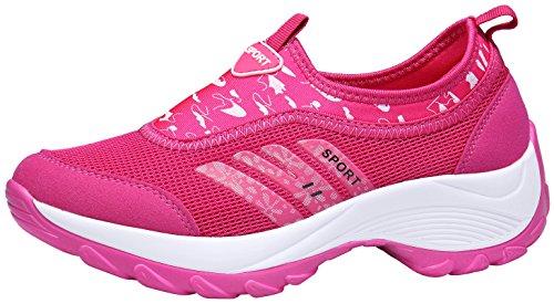 DENGBOSN Damen Mesh Sneaker Laufschuhe Turnschuhe Atmungsaktive Schnür Schuhe Leicht Sportschuhe,XZ003-pink-EU Grösse 41,Asia Grösse 42