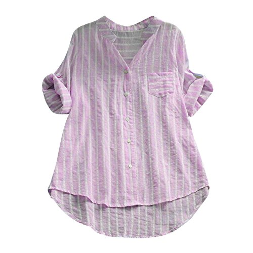 iHENGH Damen Herbst Winter Bequem Lässig Mode Frauen Baumwolle gestreiftes Dreiviertelhülsen Hemd beiläufige lose Bluse Knopfoberseiten(S,Rosa) Mode-quad