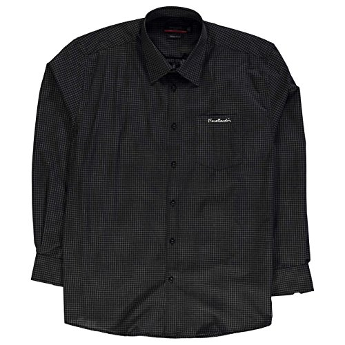 Pierre Cardin Uomo XL a Quadri Camicia Bottoni Manica Lunga Top con Colletto Nero/Bianco quadri 3XL