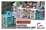LANTERNA PORTACANDELA LIGHT CM.8X8X11h 4 COL.