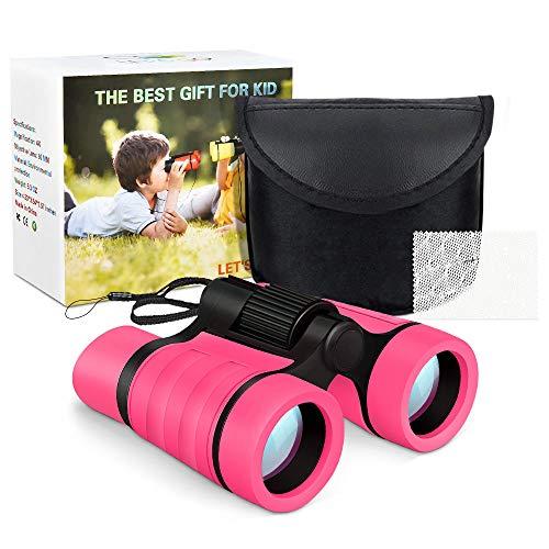 Dreamingbox 3-10 Jahre Mädchen Geschenk, Kompakt Fernglas für Kinder Geschenke für Jungen ab 3-10 Jungenspielzeug ab 3-12 Jahre Mädchenspielzeug ab 3-12 Jahre Fernglas für Vogelbeobachtung Pink