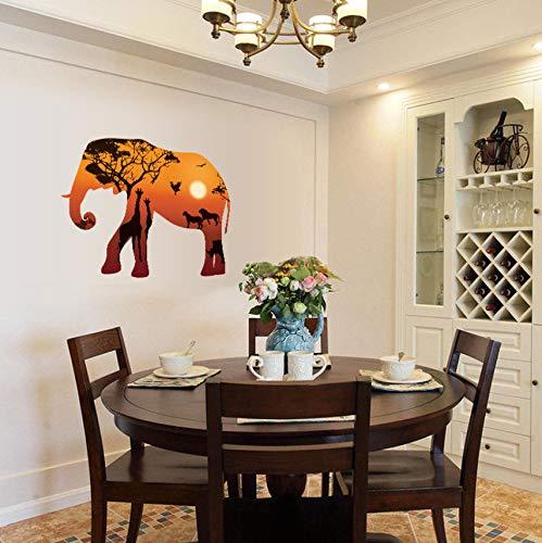 Pbldb Estilo Nórdico Elefante Africano Silueta De Dibujos Animados Pegatinas De ParedDecoración 3D Arte Pegatinas De Pared Decoración Para El Hogar Sala De Estar 68X95 Cm