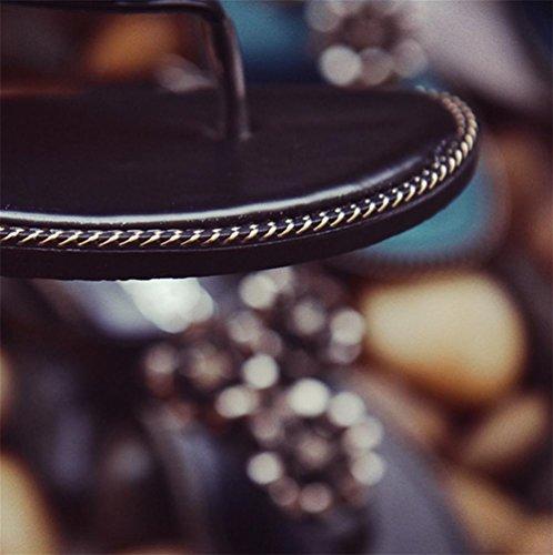 pengweiDamen Sandalen Flat Bottom Anti-Skid Sommer Schuhe Black
