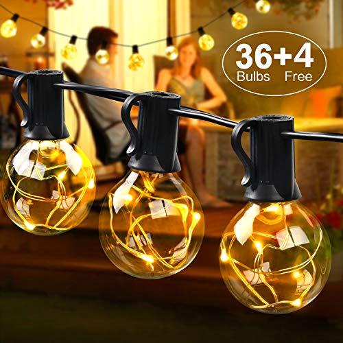 kette außen 12.5M 36er Birnen wasserdicht Lichterkette Outdoor/Indoor Lichterkette Glühbirnen mit stecker Deko für Garten Zimmer Bar Balkon Party 4 Ersatzbirnen Warmweiß ()