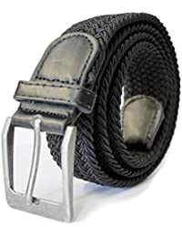 Mens Expanding Belt - One Size 36 Waist to 44 Plus Size Elasticated Woven Single Colour Leather