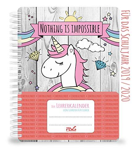 Calendario para profesores FLVG 2019/2020, calendario unicornio con dulce unicornio, arco iris, diamantes y nubes en la cubierta, cuaderno de espiral de tapa blanda, hecho a mano.
