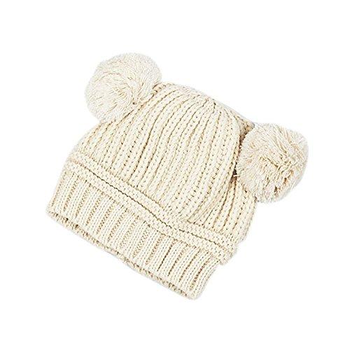 Little Sporter Wintermütze Mädchen Strick Doppelkugel Mütze Neugeborene Wintermütze Strick Wollmütze Baby Niedliche Strickwolle Hut Beige