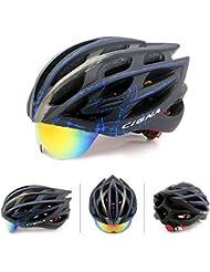 Mate Riding Moldeo MTB Gafas Ultraligero y transpirable Casco Casco de carretera ajustable bici de montaña del casco de ciclista (Negro + Azul)