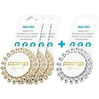 Original Papanga® Elastici per capelli a spirale, 3 + 1 bonus pack, Elegance Edition, taglia: Small, colore: 3 x Golden Elegance + 1 Elegant Silver