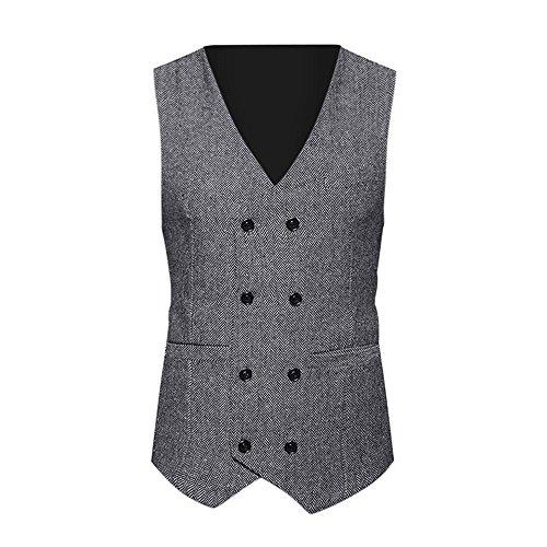 iYmitz Herren Weste Retro Slim Formelle Tweed Check Zweireiher Fit Suit Jacket(Grau,EU-46/CN-M) -
