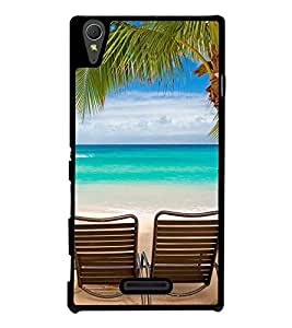 Fuson Premium 2D Back Case Cover Beach With Multi Background Degined For Sony Xperia T3