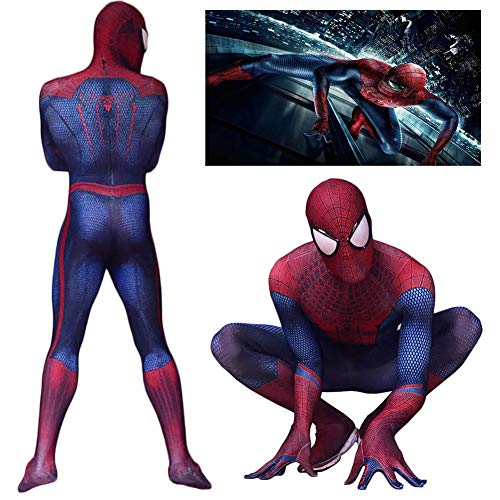 liaoting938 Amazing Spider-Man Kid Adult Cosplay Kostüm Fashion 3D Druck Erwachsene Superhelden-Linse Spandex Zentai Jumpsuit mit Maske ohne Schuhe für Halloween Party Karneval Halloween, M